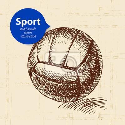 Hand gezeichneter Sportgegenstand. Skizze Volleyball Vektor-Illustration