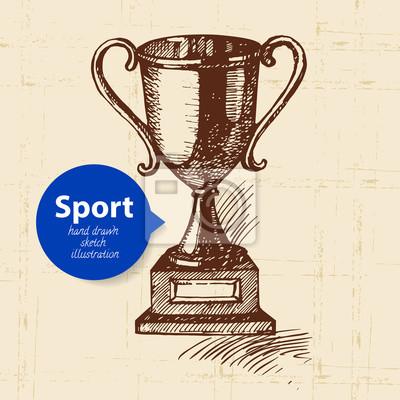 Hand gezeichneter Sportgegenstand. Skizzentrophäe. Vektor-Illustration