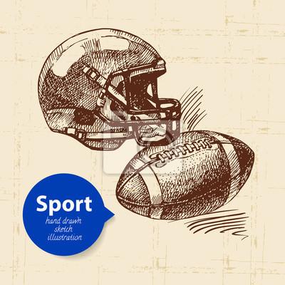 Hand gezeichneter Sportgegenstand. Skizzieren Sie American Football-Vektor-Illustration