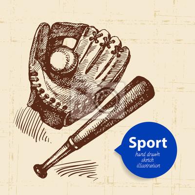 Hand gezeichneter Sportgegenstand. Skizzieren Sie Baseball-Vektor-Illustration