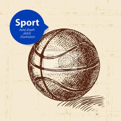 Hand gezeichneter Sportgegenstand. Skizzieren Sie Basketball-Vektor-Illustration