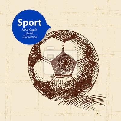 Hand gezeichneter Sportgegenstand. Skizzieren Sie Fußball-Vektor-Illustration