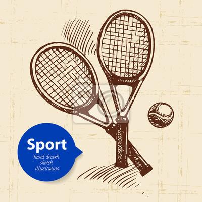 Hand gezeichneter Sportgegenstand. Skizzieren Sie Tennisschläger. Vektor-Illustration