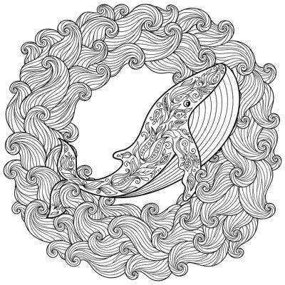 Bild Hand gezeichneter Wal in den Wellen für Antistress
