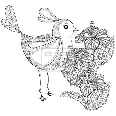 Hand gezeichnetes zentangle stammes- exotischer vogel und hibiskus ...