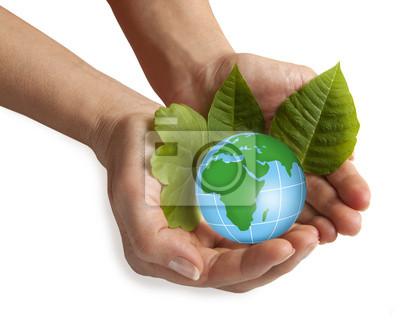 Hand hält die blaue Erde