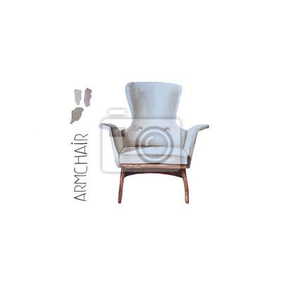 Hand Malen Aquarell Sessel Isoliert Abbildung Moderner Stuhl