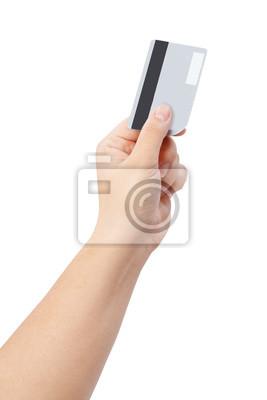 Hand mit Kreditkarte isolieren auf weißem Beschneidungspfad