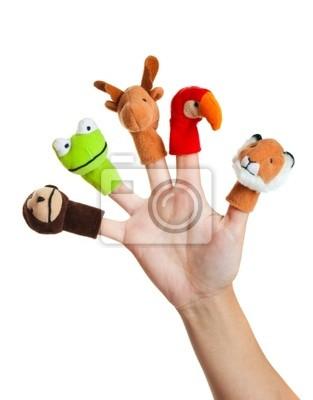Hand mit Tiermarionetten