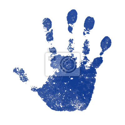 Bild Hand paint print, isolated white background. Blue human palm and fingers. Abstract art design, symbol identity people. Silhouette child, kid, people handprint. Grunge texture. Vector illustration