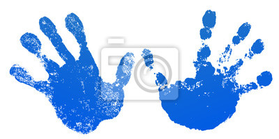 Bild Hand paint print set, isolated white background. Blue human palm and fingers. Abstract art design, symbol identity people. Silhouette child, kid, people handprint. Grunge texture. Vector illustration