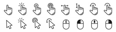 Bild Hand pointer cursor mouse icon set. Black finger touch screen symbol, clicking cursor arrow, mouse computer key. Click, tap, swipe, slide , hand signs. Isolated UI vector design on white background.