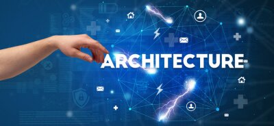 Hand pointing at ARCHITECTURE inscription, modern technology concept