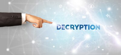 Hand pointing at DECRYPTION inscription, modern technology concept