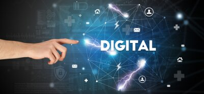 Hand pointing at DIGITAL inscription, modern technology concept