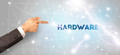 Hand pointing at HARDWARE inscription, modern technology concept