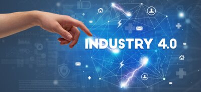 Hand pointing at INDUSTRY 4.0 inscription, modern technology concept