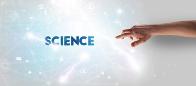 Hand pointing at SCIENCE inscription, modern technology concept