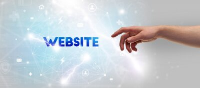 Hand pointing at WEBSITE inscription, modern technology concept
