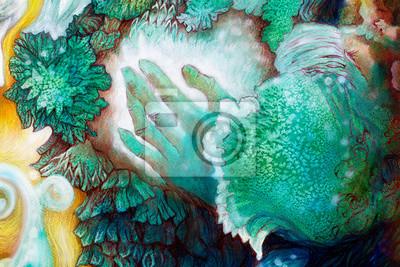 Hand und lässt Malerei, detaillierte smaragdgrünen Sternen structur