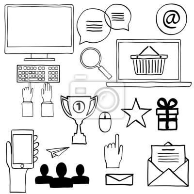 Hand Zeichnen Doodle Symbole Internet Konzept Arbeit Buro