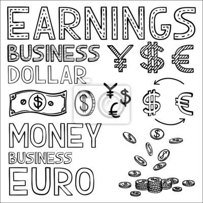 Hand Zeichnen Finanzen Und Geld Doodle Sketch Geschäfts Symbol