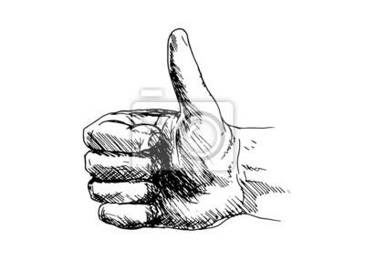Hand-Zeichnung eine Hand mit Daumen hoch. Vektor-Illustration