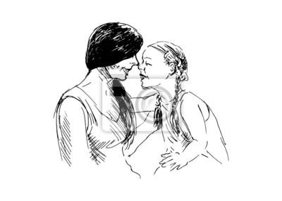 Hand-Zeichnung eine Mutter spielt mit ihrer Tochter