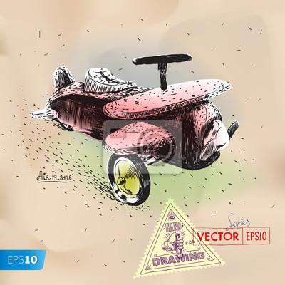 Hand-Zeichnung Spielzeug Vintage Flugzeug eps10 Vektor-Bild