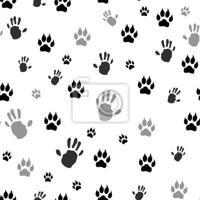 Handabdruck Mensch Und Tier Tatzendruck Nahtlos Vektor Illustration