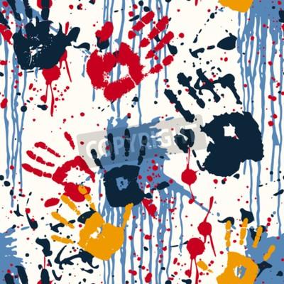 Bild Handabdrücke und Blots, abstrakte Vektor nahtlose Muster