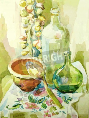 Bild Handgefertigte Aquarellküche Stilleben mit Topf, Glasflasche, Löffel und Bogen