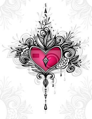 Handgefertigte zentangle herz mit blumen im boho-stil für tattoo ...