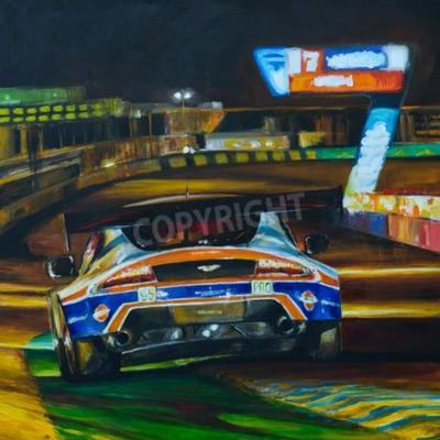 Bild Handgemalte Bild von Rennwagen fahren in der Nacht mit hoher Geschwindigkeit im Schaltkreis. Illustration erstellt mit Acryl