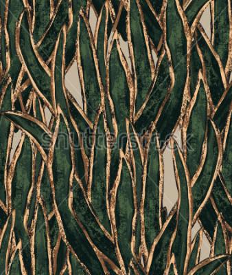 Bild handgemalte Seetang-Tapete. exotisches Gras nahtlose Muster. tropische Abbildung für Textil- und Oberflächendesign