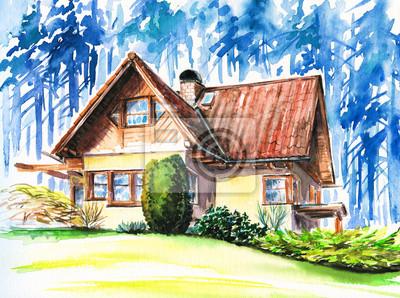 Handgemaltes Bild des Hauses in der Nähe von Wald.