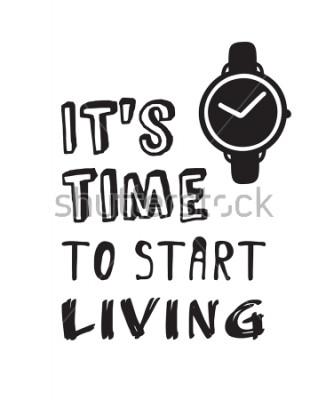 Bild Handgezeichnete Uhren und Text. Gekritzelvektoruhren. Künstlerische Zeichnungsobjekte. Kreative Tuschekunst und Zitat