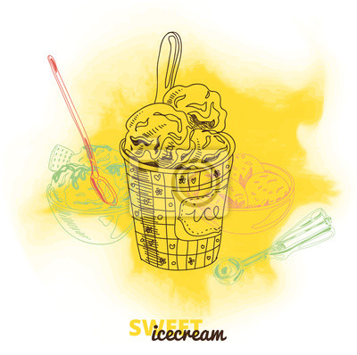 Bild Handgezeichnete Vektor-Illustration mit Eis.