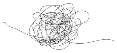 Bild Handgezeichnetes Gekritzelobjekt mit Anfang und Ende. Isolierte Skizze auf weiß