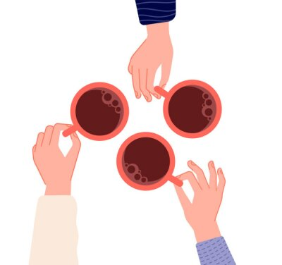 Bild Hands holding cups. Coffee, tea in woman hand. Isolated mugs with hot drinks in cafe. Friends meeting or morning time vector illustration. Hot cup of coffee drink, hand with mug