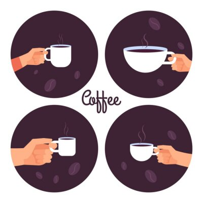 Bild Hands holding cups of coffee vector icons set isolated on white background illustration