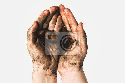 Bild Hands of a child with dirty water. Epidemic, viruses, bacteria in water, diseases of dirty hands. Problems of environmental pollution ecology