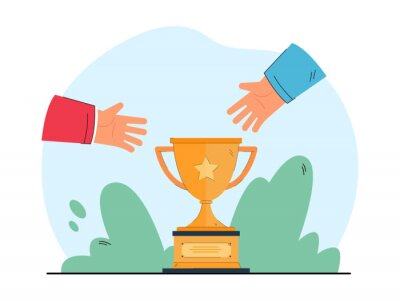 Bild Hands stretching toward cup. Desire to win competition and get prize flat vector illustration. Achievement, success, jealousy concept for banner, website design or landing web page
