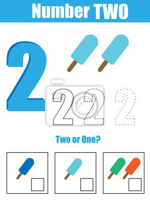 Handschriftsprache. mathematik und zahlen lernen. nummer zwei ...