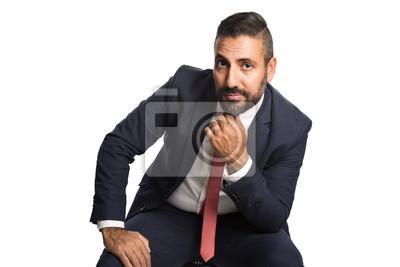 Handsome Geschäftsmann In Einem Blauen Anzug Und Rote Krawatte