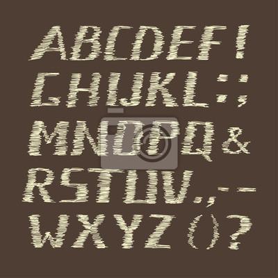 Bild Handwritten Chalk Alphabet on Brown  Background