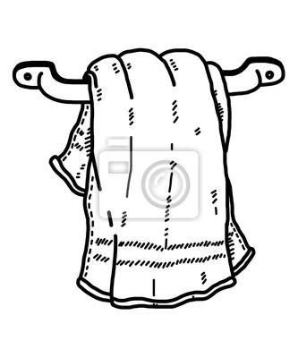 Bild Hängen Handtuch In Bad / Cartoon Vektor Und Illustration, Schwarz Und  Weiß, Hand