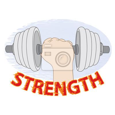 """Hantel in der Hand. Konzeptionelle Logo mit der Aufschrift """"Stärke"""". Vektor-Illustration, Symbol, Element für Design oder Mode-Druck."""