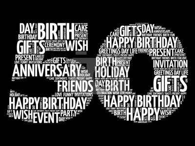 Bild Happy 50 Geburtstag Wort Wolke Collage Konzept