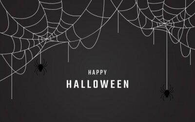 Bild happy halloween background vector design, spider web